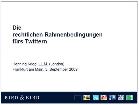 Henning Krieg: Präsentation zum Thema Twitter und Recht