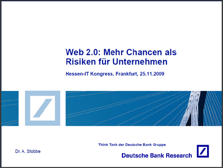 Deutsche Bank Research: Web 2.0 - Mehr Chancen als Risiken für Unternehmen