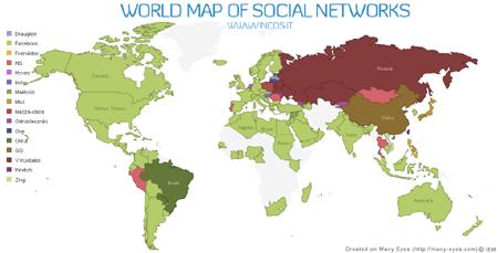 Weltkarte der führenden Social Networks (Update)