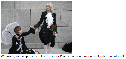 Wahnsinn, wie lange die Cosplayer in einer Pose verweilen müssen, weil jeder ein Foto will