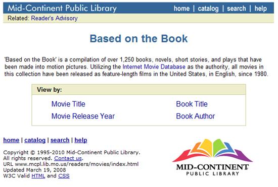 Umfangreiche Datenbank von auf Büchern basierenden US-Filmen