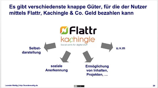 Die Verleihung von sozialer Anerkennung bzw. Reputation als Chance für Flattr, Kachingle & Co.
