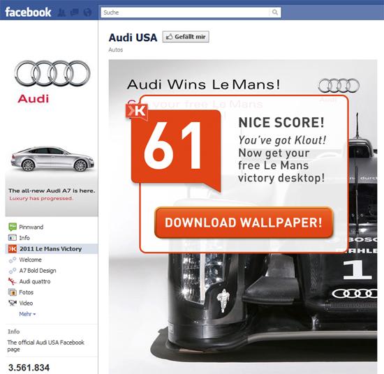 Personalisierung von Facebook-Seiten mittels Reputations-Kennzahlen von Klout