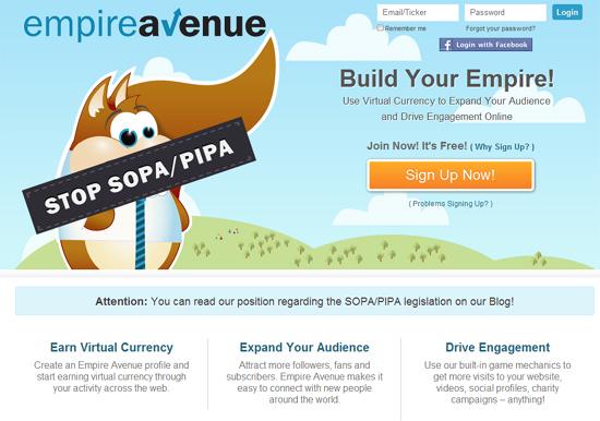 Empire Avenue: Politisches Statement direkt auf der Startseite der Plattform