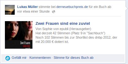 epubli: Facebook-Anwendung für den Self-Publishing-Autorenwettbewerb derneuebuchpreis.de