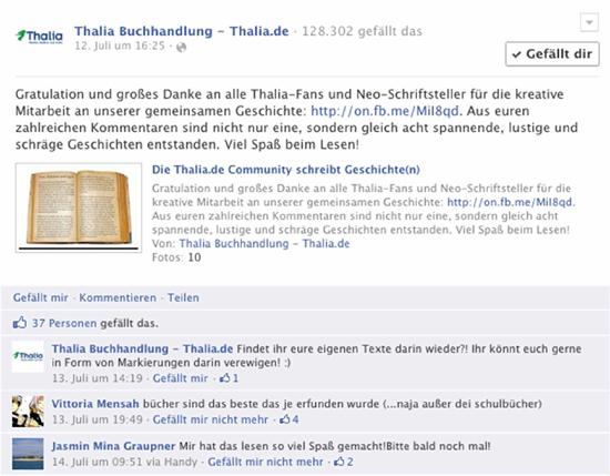 """Thalia: """"Storytelling 2012"""" auf den Facebook-Seiten für Deutschland, Österreich und die Schweiz"""