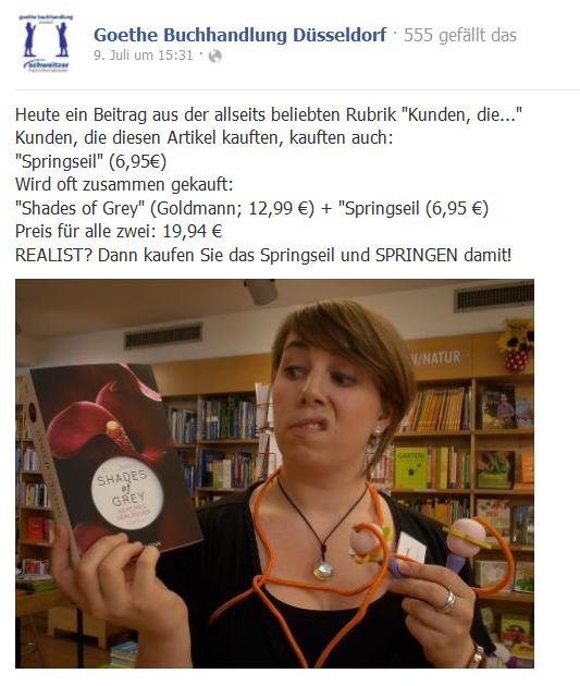 """Goethe Buchhandlung Teubig: Empfehlungen """"passender"""" Produkte mithilfe witziger Fotos auf Facebook"""