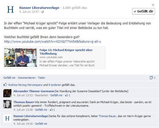"""Hanser Literaturverlage: Monatliche YouTube-Serie """"Michael Krüger spricht"""""""