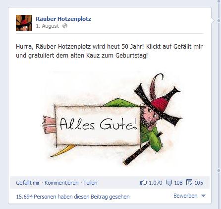 Thienemann Verlag: Etablierung des Räuber Hotzenplotz auf Facebook