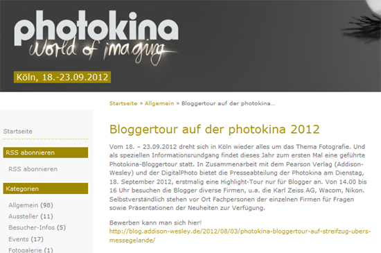 Pearson: Blogger Relations mit der Durchführung der offiziellen Bloggertour der Photokina 2012
