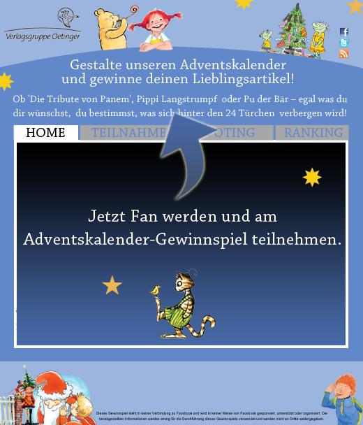 Verlagsgruppe Oetinger: Zusammenstellung eines Adventskalenders aus den Lieblingstiteln der User