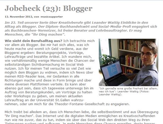 Lese-Tipp in eigener Sache: Über meinen Job als Blogger