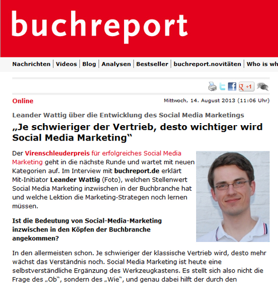 Über den Stand des Social Media Marketing in der Buchbranche - Interview beim Buchreport