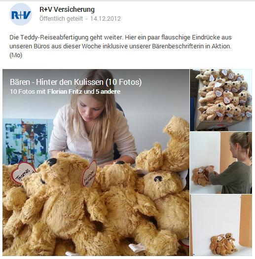Eck Consulting Group: R+V spendet personalisierte Teddybären über Google+