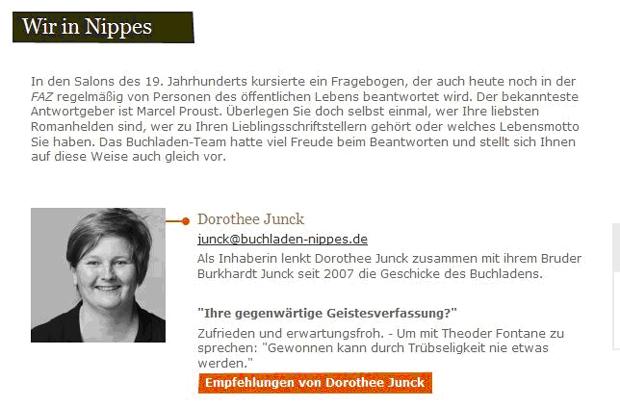 Dorothée Junck: Inhaberin des Buchladen Neusser Strasse