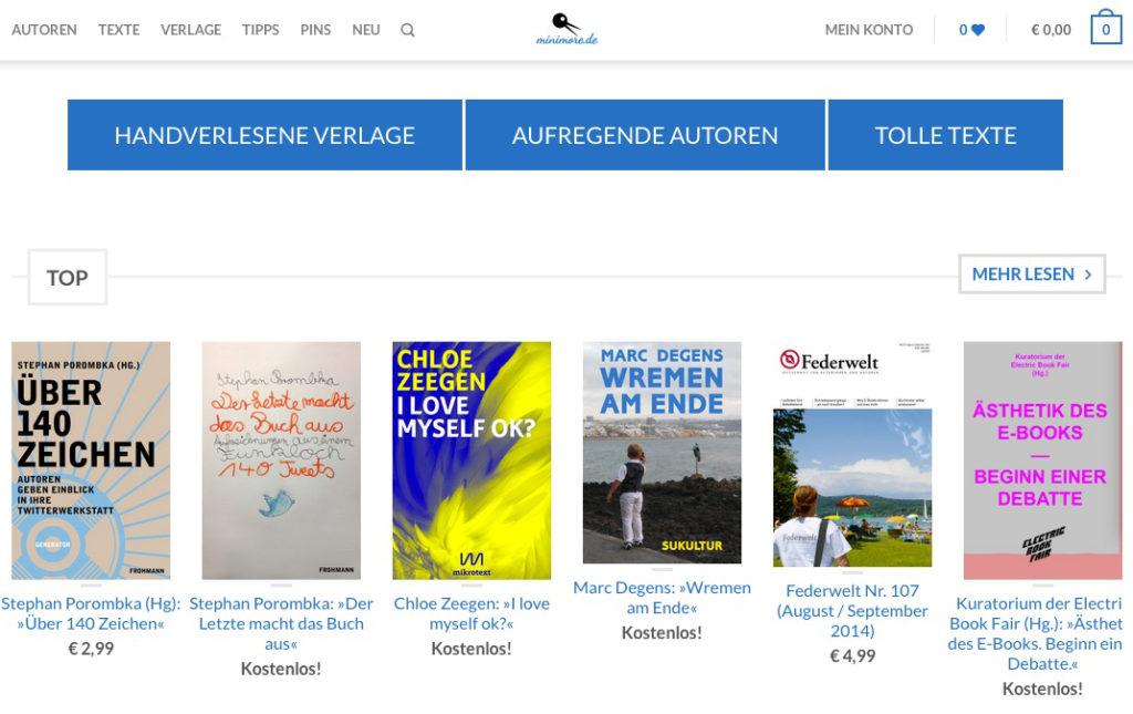 Minimore: Sichtbarkeit für E-Books mittels einer E-Book-Boutique