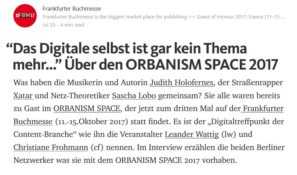 Interview für die Frankfurter Buchmesse über den ORBANISM SPACE 2017