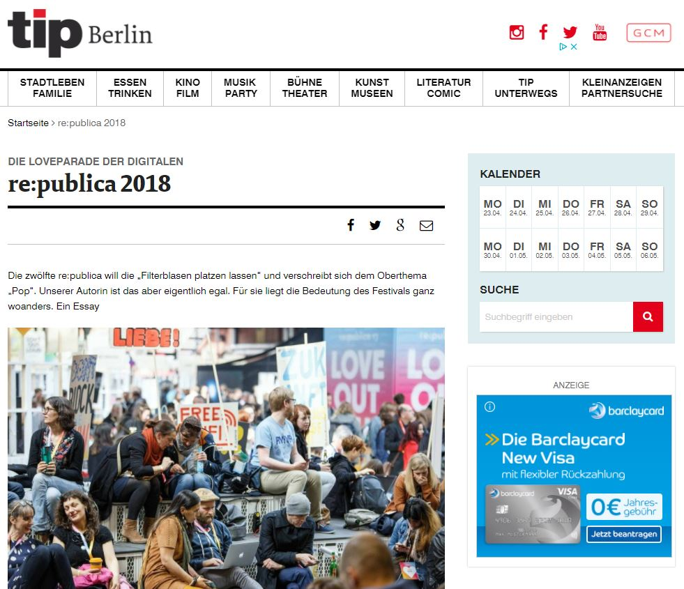 Im tip berlin über die re:publica