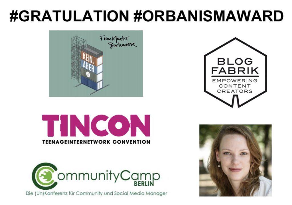 Glückwunsch an die Preisträger des ORBANISM AWARD 2017