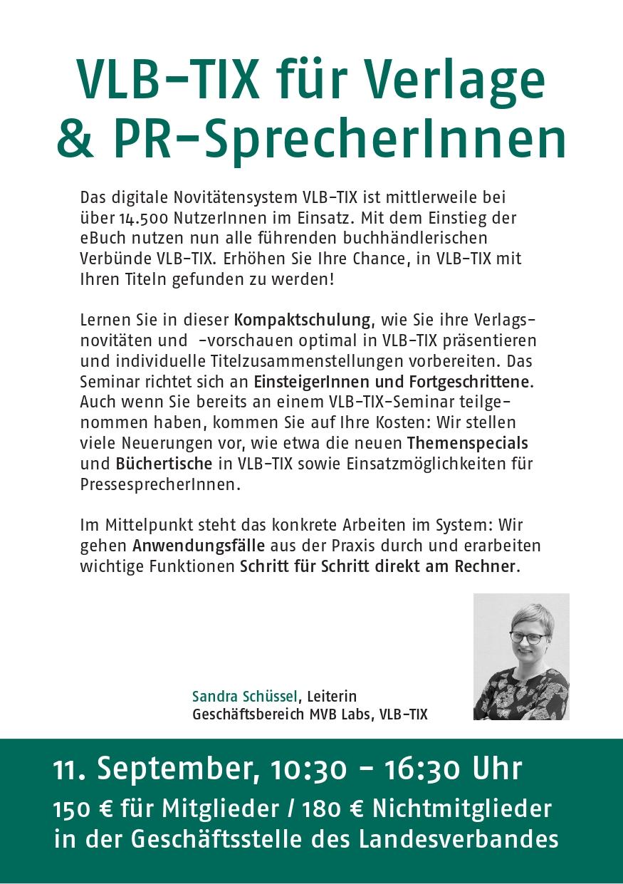 VLB-TIX für Verlage und PR-Sprecherinnen