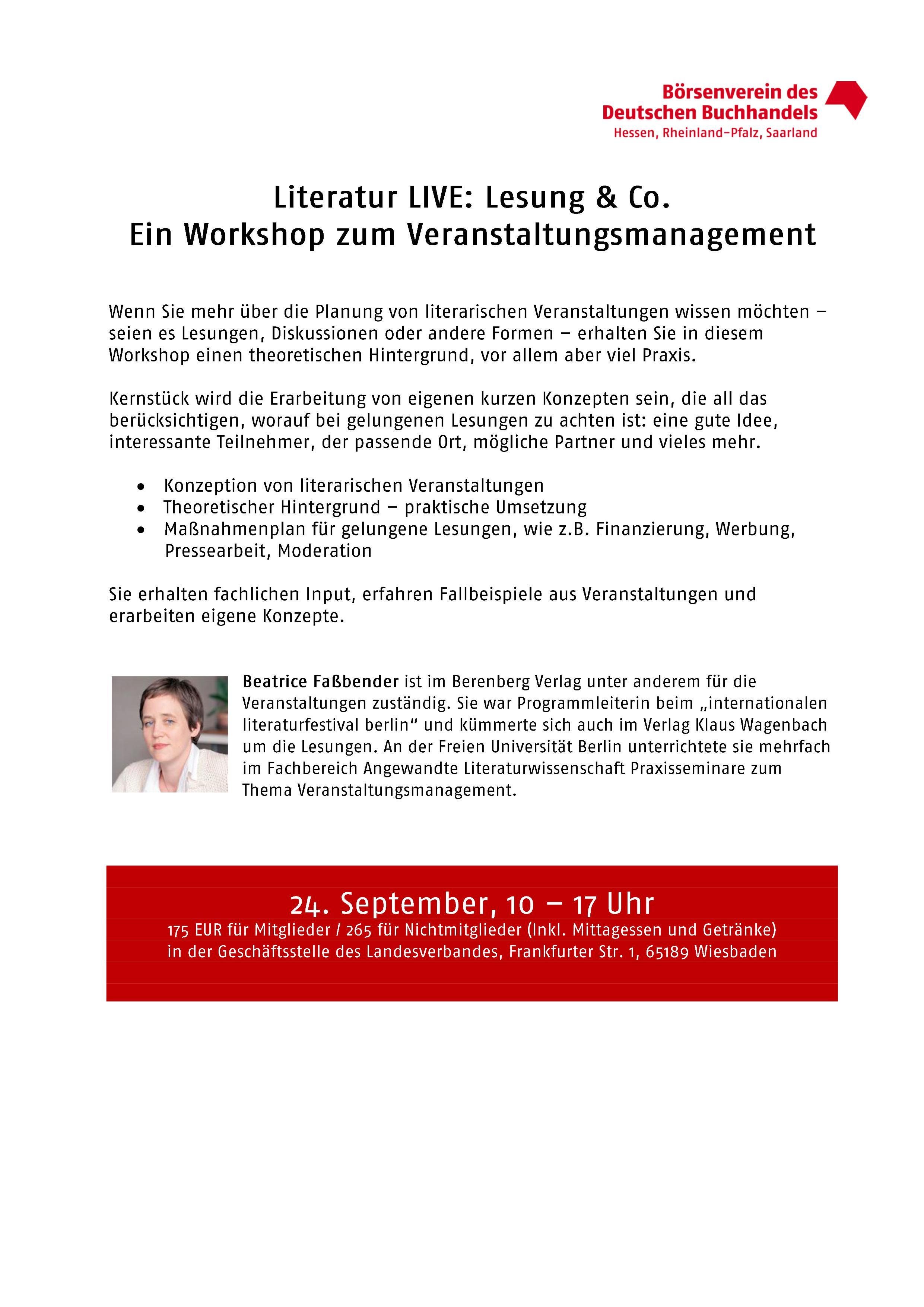 Literatur LIVE: Lesung & Co. Ein Workshop zum Veranstaltungsmanagement