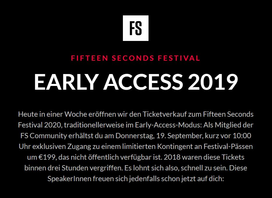 Fifteen Seconds Festival: Early Access beim Ticket-Kontingent für die Community
