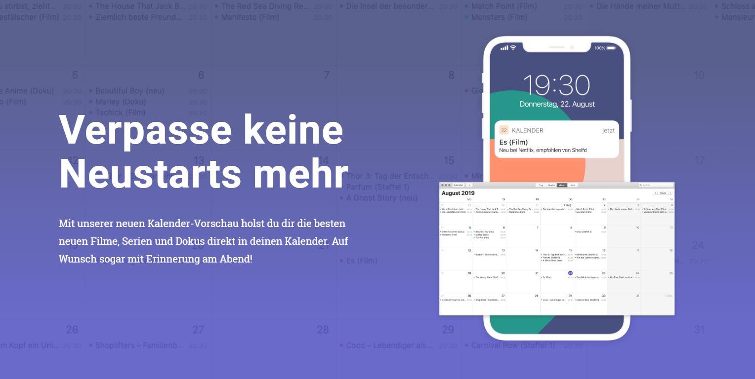 Shelfd: Kalenderintegration von Streaming-Tipps