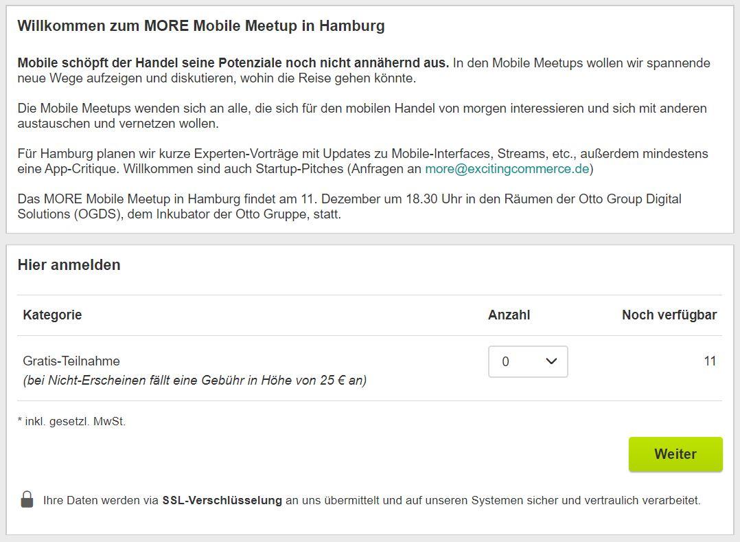 Exciting Commerce / MORE Mobile Meetup: Gratis-Tickets, Gebühr bei Nicht-Erscheinen