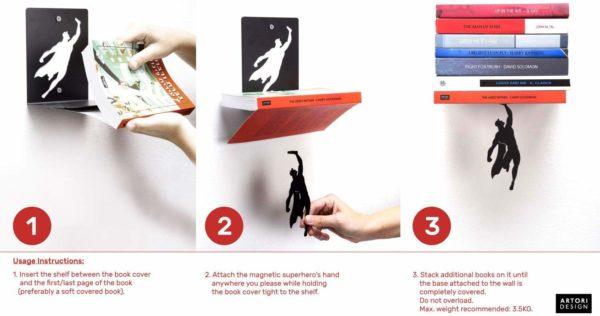 »Supershelf« – Superhelden-Bücherregal aus schwarzem Metall (Artori Design)