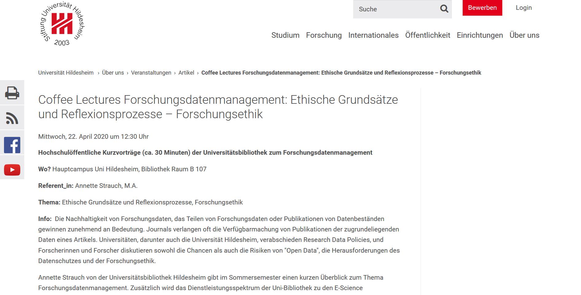 Coffee Lectures Forschungsdatenmanagement: Ethische Grundsätze und Reflexionsprozesse, Forschungsethik.