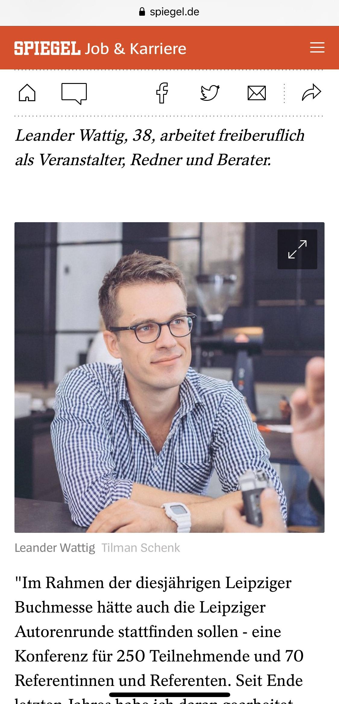 Leander Wattig über Eventabsagen wegen Corona bei »Der Spiegel«