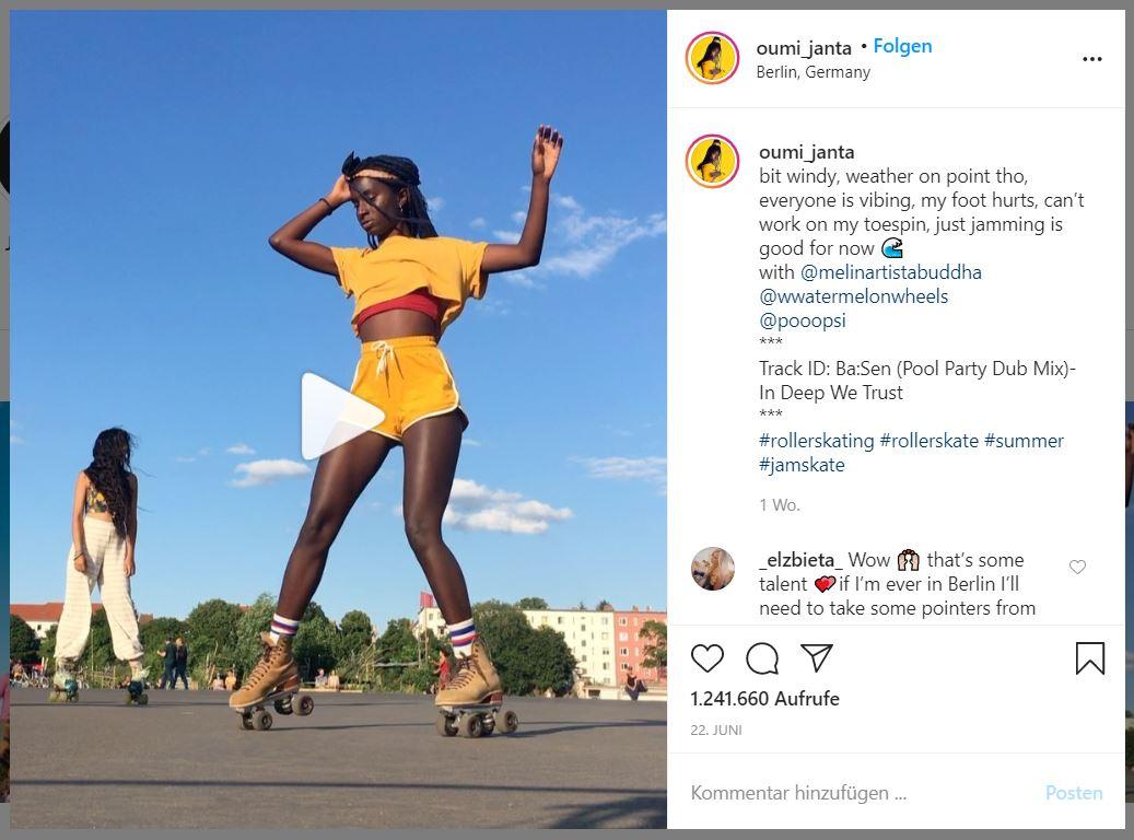 Oumi Janta: Rollschuh-Video auf Instagram wird zum viralen Hit