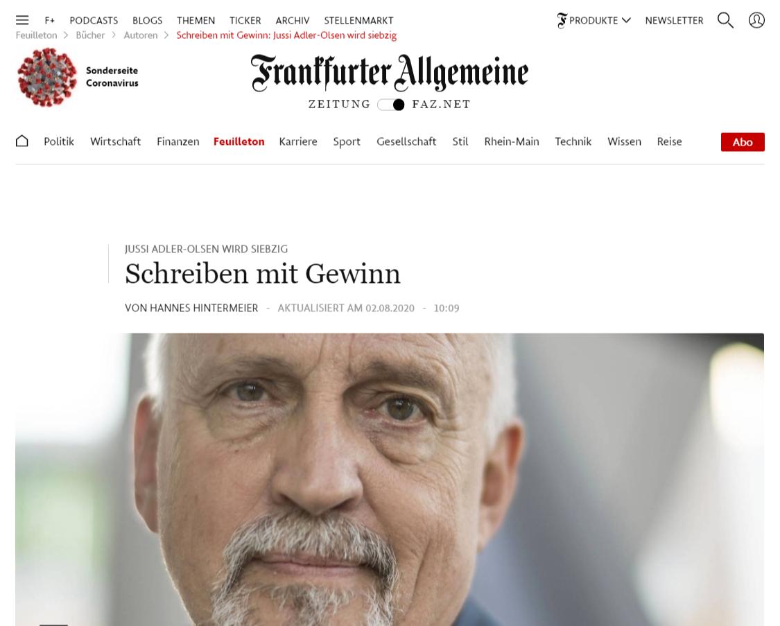 Jussi Adler-Olsen: 70. Geburtstag und 10 Millionen verkaufte Bücher in Deutschland