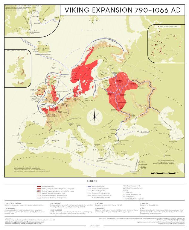 Karte der Ausbreitung der Wikinger um 1000