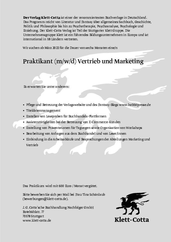 Praktikant (m/w/d) Vertrieb und Marketing