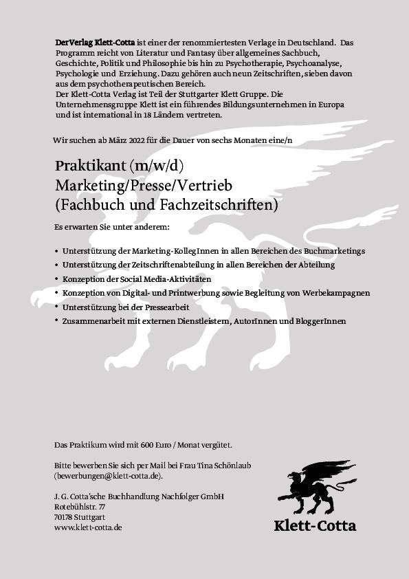 Praktikant (m/w/d) Marketing/Presse/Vertrieb (Fachbuch und Fachzeitschriften)